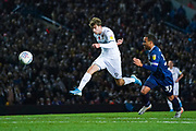 Leeds United forward Patrick Bamford (9) takes a shot during the EFL Sky Bet Championship match between Leeds United and Blackburn Rovers at Elland Road, Leeds, England on 9 November 2019.