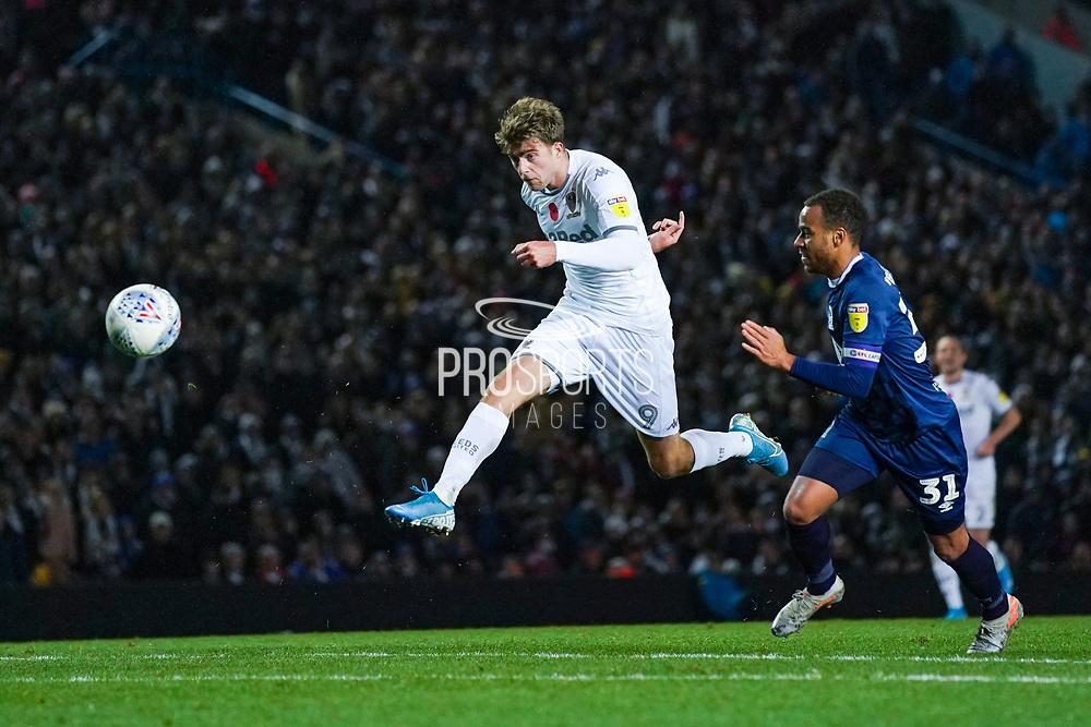 Leeds United forward Patrick Bamford (9) takes a shot during the EFL Sky Bet Championship match between Leeds United and Blackburn Rovers at Elland Road, Leeds, England on 9 November 2019.