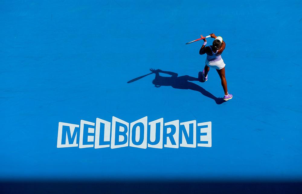 Sloane Stephens in match play at the 2013 Australian Open Grand Slam tennis tournament