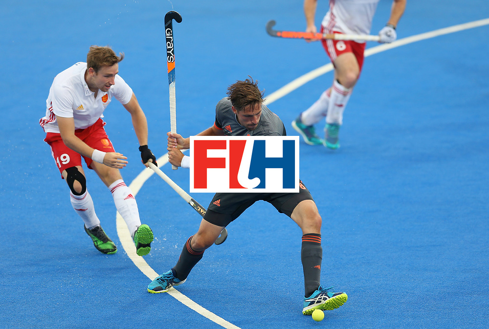 LONDON, ENGLAND - JUNE 24: Bjorn Kellerman of the Netherlands attempts a shot during the semi-final match between England and the Netherlands on day eight of the Hero Hockey World League Semi-Final at Lee Valley Hockey and Tennis Centre on June 24, 2017 in London, England. (Photo by Steve Bardens/Getty Images)