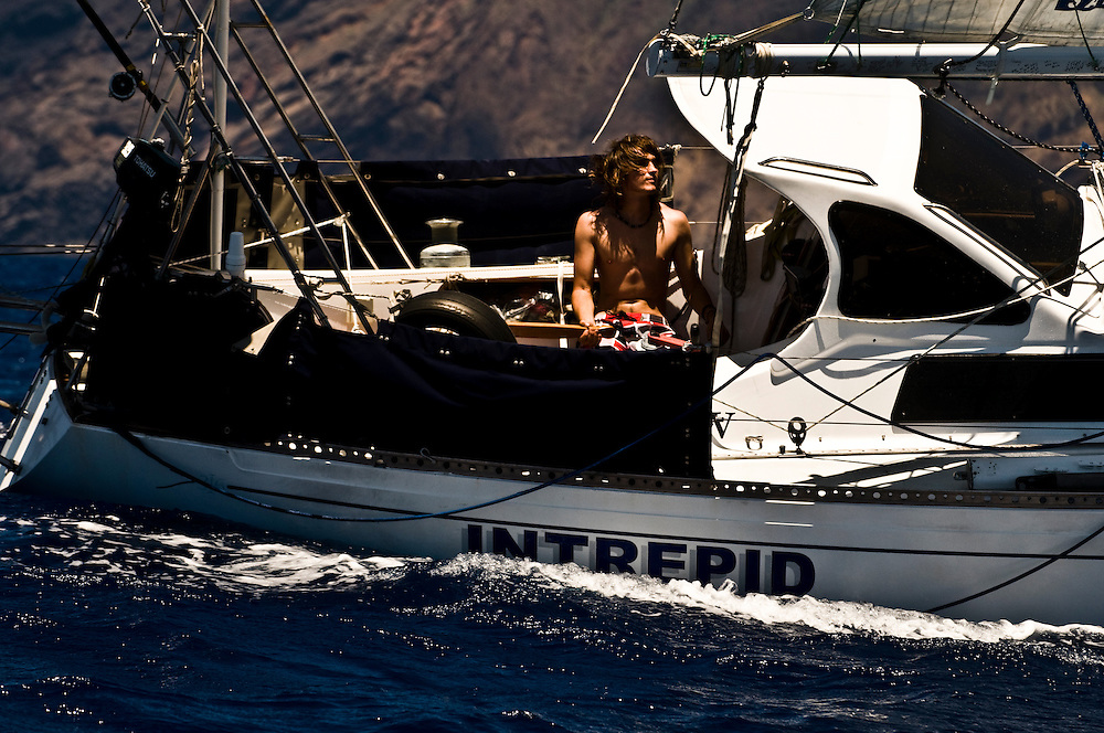 Zac Sunderland arriving in St. Helena from Cape Town, SA