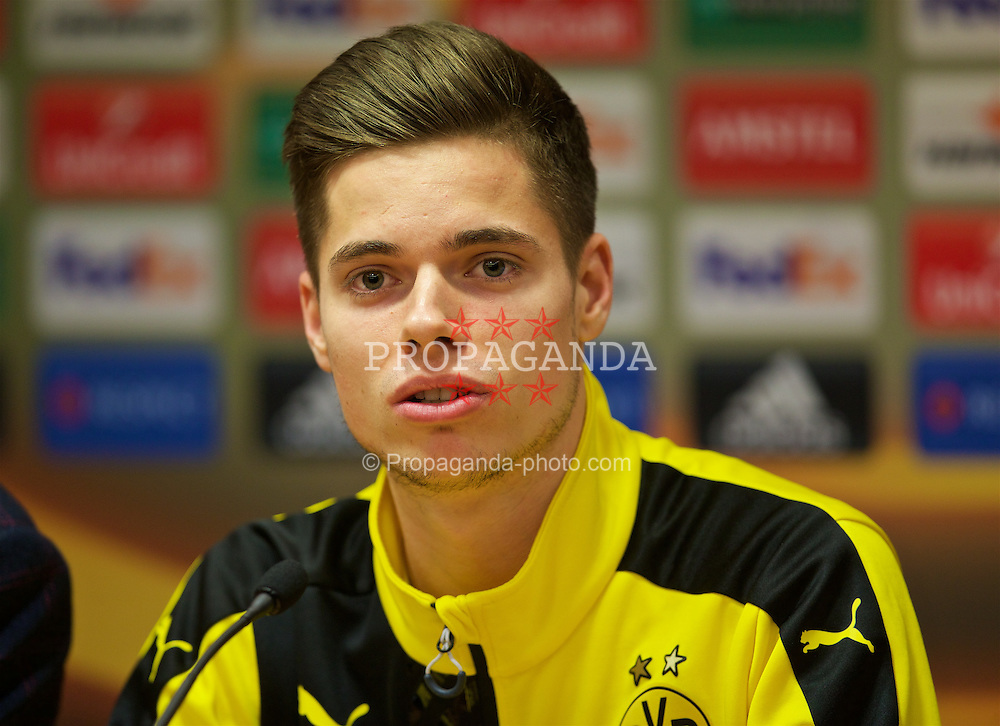 LIVERPOOL, ENGLAND - Wednesday, April 13, 2016: Borussia Dortmund's Julian Weigl during a press conference at Anfield ahead of the UEFA Europa League Quarter-Final 2nd Leg match against Liverpool. (Pic by David Rawcliffe/Propaganda)