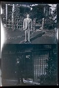 happy adult man standing by his house Japan ca 1940s