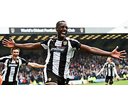Notts County forward Jonathan Forte (14) celebrates after scoring a goal to make it 2-1 during the EFL Sky Bet League 2 match between Notts County and Coventry City at Meadow Lane, Nottingham, England on 7 April 2018. Picture by Jon Hobley.
