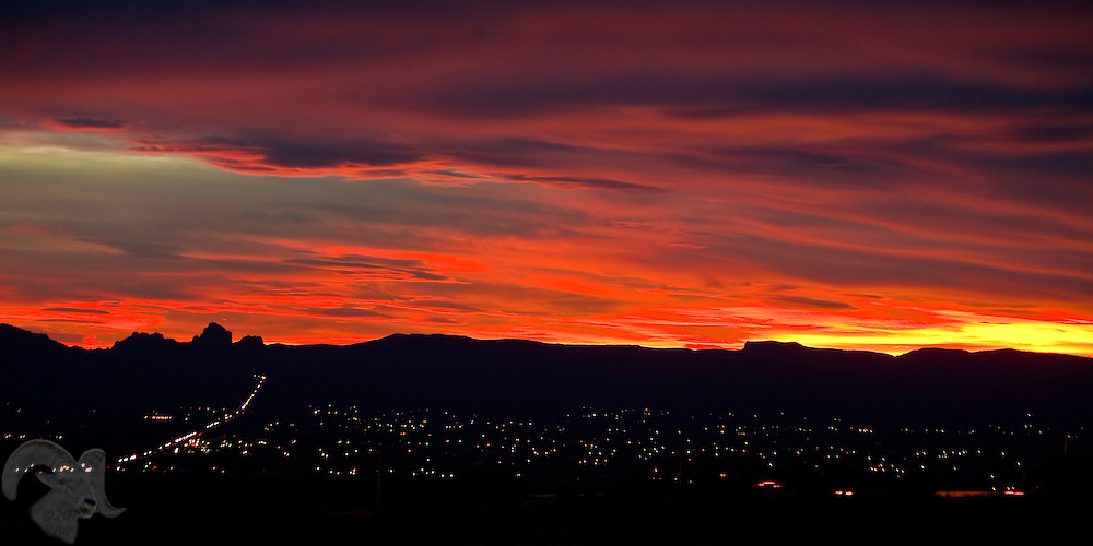 A red sunset over the City of Golden Valley, Arizona.