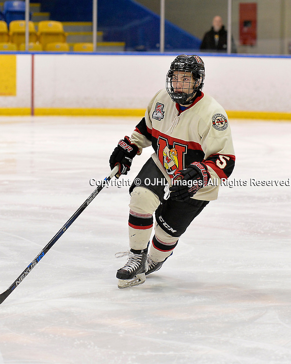 WHITBY, ON - Oct 9, 2015 : Ontario Junior Hockey League game action between Newmarket and Whitby, Andrew Breda #5 of the Newmarket Hurricanes during the second period.<br /> (Photo by Shawn Muir / OJHL Images)