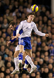 Liverpool, England - Wednesday, December 5, 2007: Everton's James McFadden and Zenit St. Petersburg's Nicolas Lombaerts during the UEFA Cup Group A match at Goodison Park. (Photo by David Rawcliffe/Propaganda)