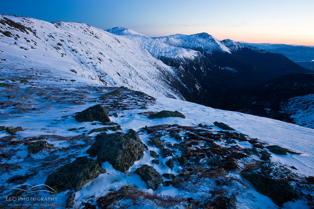 Dawn in winter in New Hampshire's White Mountains.  Northern Presidential Range.  Great Gulf Wilderness.  From Gulfside Trail below Mount Washington.