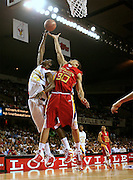 Kansas State recruit Michael Beasley and Patrick Patterson battle for a rebound during action in the McDonald's All American High School Basketball Team games at Freedom Hall in Louisville, Kentucky on March 28, 2007.