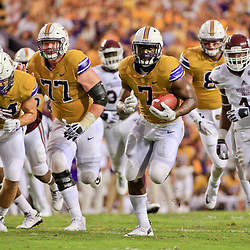 Sep 17, 2016; Baton Rouge, LA, USA;  LSU Tigers running back Leonard Fournette (7) scores a touchdown against the Mississippi State Bulldogs during the second quarter of a game at Tiger Stadium. Mandatory Credit: Derick E. Hingle-USA TODAY Sports