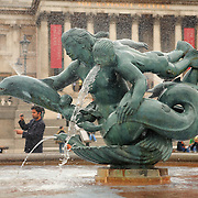 Trafalgar Square Bronze Sculpture Fountain - London, UK