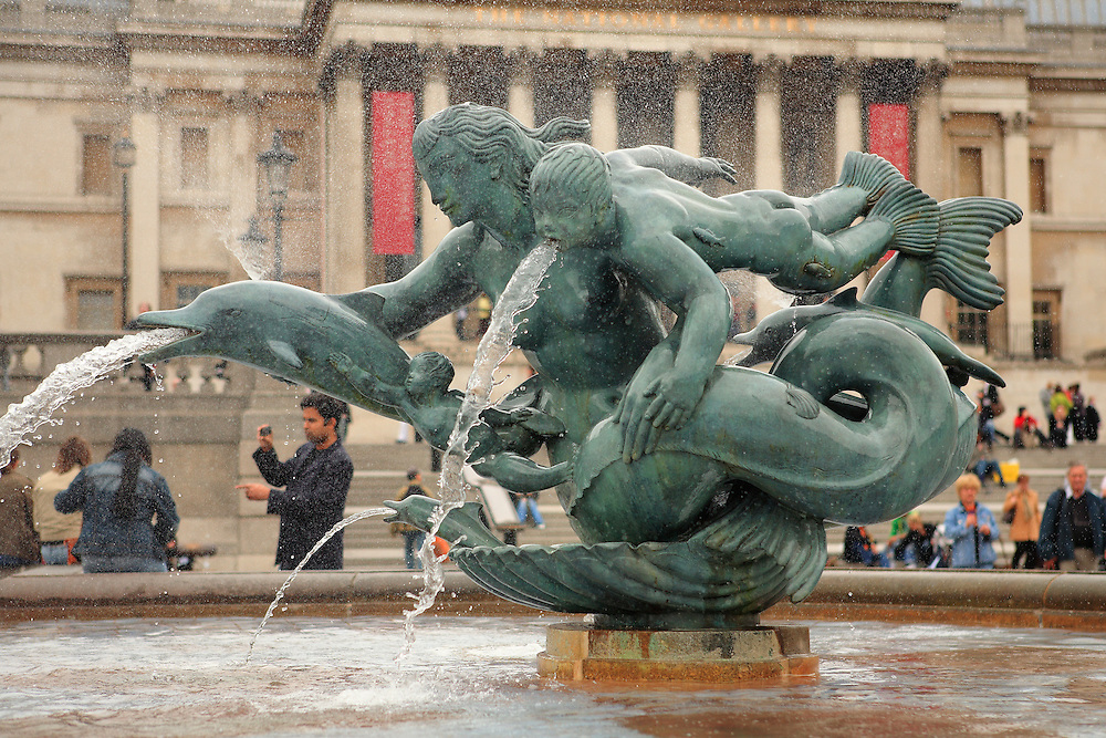 Trafalgar Square Bronze Sculpture Fountain - London, UK