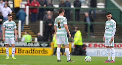 Dejection for Yeovil Town's Josh Sheenan as Port Vale's Michael Brown scores his sides goal- Photo mandatory by-line: Harry Trump/JMP - Mobile: 07966 386802 - 25/04/15 - SPORT - FOOTBALL - Sky Bet League One - Yeovil Town v Port Vale - Huish Park, Yeovil, England.
