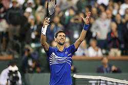 March 9, 2019 - Indian Wells, CA, U.S. - INDIAN WELLS, CA - MARCH 09: Novak Djokovic (SRB) celebrates a win during the BNP Paribas Open on March 9, 2019 at Indian Wells Tennis Garden in Indian Wells, CA. (Photo by George Walker/Icon Sportswire) (Credit Image: © George Walker/Icon SMI via ZUMA Press)