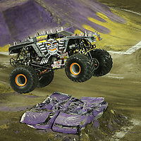 Max-D driven by Morgan Kane is seen during the Monster Jam big truck event at the Citrus Bowl in Orlando, Florida on Saturday, January 25, 2014. (AP Photo/Alex Menendez)