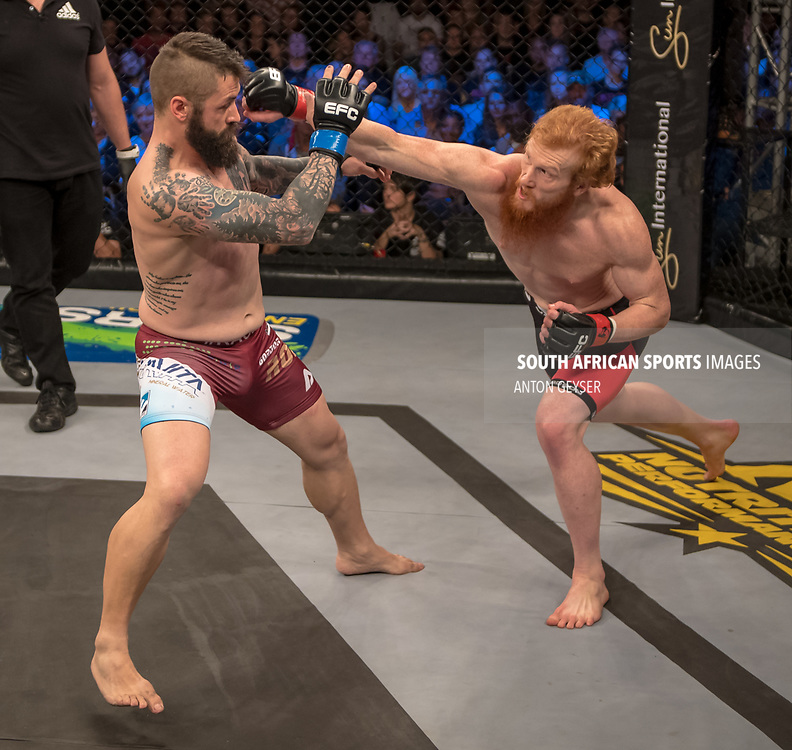 DURBAN, SOUTH AFRICA - JUNE 10: (L-R) Gordon Roodman and Cameron Meintjes from South Africa in action during the EFC 60 Fight Night at Sibaya Casino on June 10, 2017 in Durban, South Africa. (Photo by Anton Geyser/EFC Worldwide/Gallo Images)