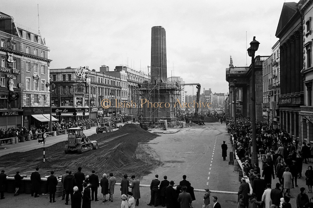 Preparations for Army blasting of Nelson's Pillar remains.13.03.1966
