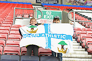 Two young wigan fans happy with there sides 4-1 win in the Sky Bet League 1 match between Wigan Athletic and Southend United at the DW Stadium, Wigan, England on 23 April 2016. Photo by John Marfleet.