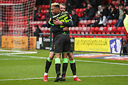 Forest Green Rovers Christian Doidge(9) scores a goal 1-3 and celebrates with Forest Green Rovers Junior Mondal(25) during the EFL Sky Bet League 2 match between Crewe Alexandra and Forest Green Rovers at Alexandra Stadium, Crewe, England on 27 April 2019.