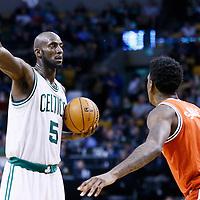 21 December 2012: Boston Celtics power forward Kevin Garnett (5) sets the offense during the Milwaukee Bucks 99-94 overtime victory over the Boston Celtics at the TD Garden, Boston, Massachusetts, USA.