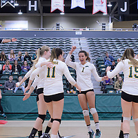3rd year outside hitter Ashlee Sanford (1) of the Regina Cougars celebrates during the Women's Volleyball Home Game vs Trinity Western  on October 28 at the CKHS University of Regina. Credit Matt Johnson/Arthur Images