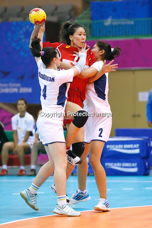 Arata Nishikiori (JPN), <br /> SEPTEMBER 24, 2014 - Handball : <br /> Women's Preliminary Round <br /> between Japan 51-18 Uzbekistan <br /> at Seonhak Gymnasium <br /> during the 2014 Incheon Asian Games in Incheon, South Korea. <br /> (Photo by AFLO SPORT)