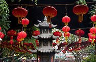 The Jade Emperor Pagoda decorated with red lanterns for the Tet Lunar New Year holiday in Ho Chi MInh City, Vietnam, Southeast Asia