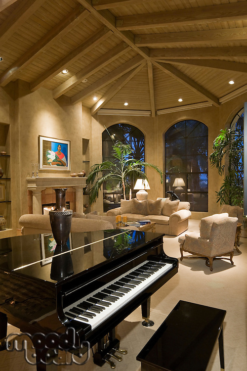 Modern living room with grand piano