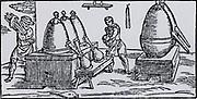 Heating mercury-bearing ore and recovering mercury by distillation.  From 'De la pirotechnia' by Vannoccio Biringuccio (Venice, 1540).