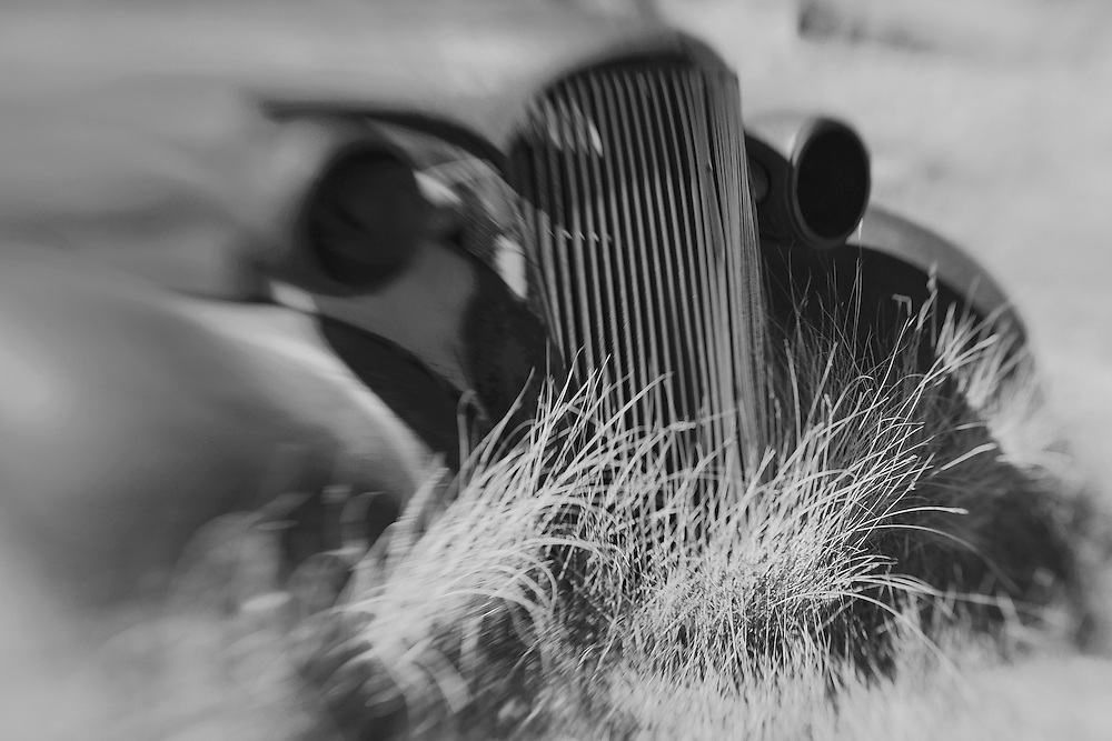 Abandoned Car Close - Bodie, CA - Lensbaby - Black & White