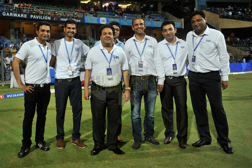 Rajiv Shukla Chairman of IPL (C) and Sundar Raman CEO of IPL (3R) is seen with team IPL during match 54 of the Indian Premier League ( IPL) 2012  between The Mumbai Indians and the Royal Challengers Banglore held at the Wankhede Stadium in Mumbai on the 9th May 2012..Photo by Pal Pillai/IPL/SPORTZPICS.