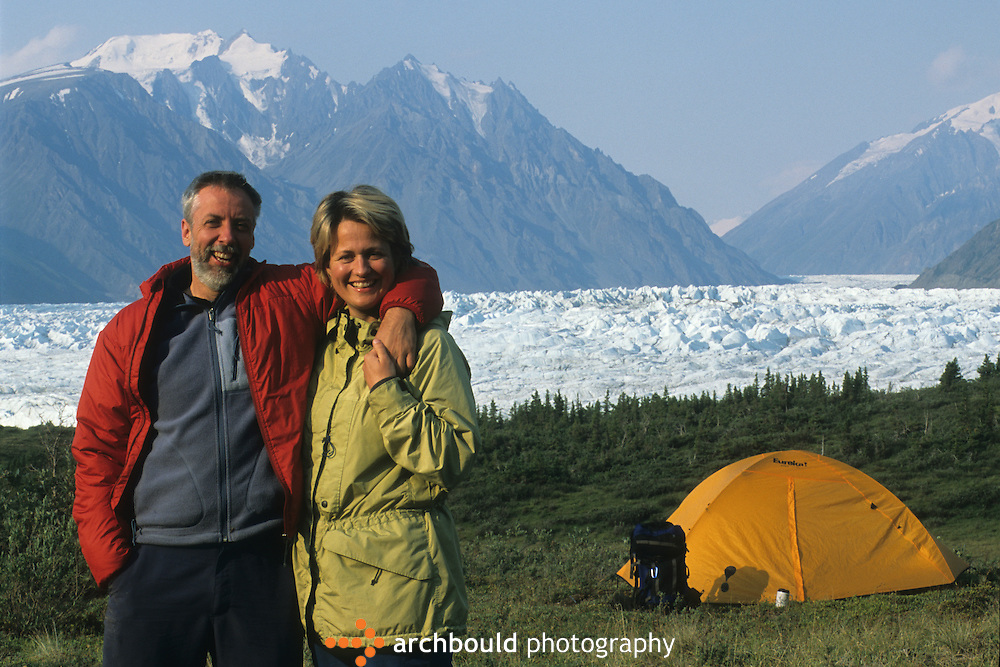 Back packing couple on Donjek Glacier hike in Kluane National Park