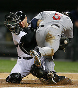 Chicago White Sox vs Minnesota Twins playoff for AL Central title -- Chicago White  Sox catcher A.J. Pierzynski tags out Minnesota's Michael Cuddyer (5) at home plate.
