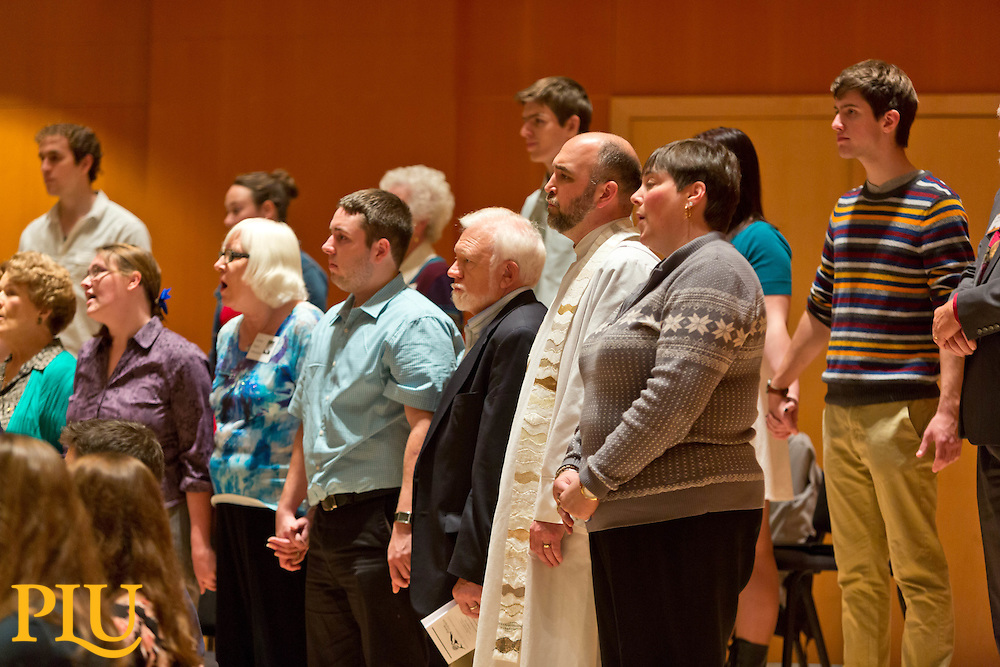 Ivar Hillesland '02 joins the Choir of the West for the Homecoming 2014 in Lagerquist Hall at PLU on Sunday, Oct. 5, 2014. (PLU Photo/John Froschauer)