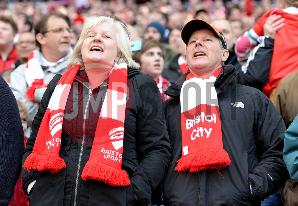 Bristol City fans inside the Wembley Stadium- Photo mandatory by-line: Alex James/JMP - Mobile: 07966 386802 - 22/03/2015 - SPORT - Football - London - Wembley Stadium - Bristol City v Walsall - Johnstone Paint Trophy Final