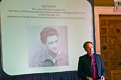 Pictured:<br /> <br /> Late sculptor who survived concentration camp horror. Latvian Zigfrids Sapietis settled and worked in Newbattle, Midlothian, until his death aged 90 in 2014. His widow, Paula, today unveiled one of his works, Tree of Life, which she has gifted to Newbattle Abbey College. Latvia'sHonarry Consul to Scotland, John McGregotr and Dr Alasdair Alln, MSP, Minister for International Development and Europe were among the invited guests.<br /> <br /> Ger Harley: 1 September 2017