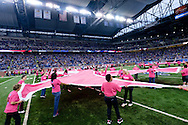 Pink Ribbons on the field prior to an NFL football game at Ford Field in Detroit, Sunday, Oct. 11, 2015. (AP Photo/Rick Osentoski)