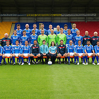 St Johnstone FC Season 2011-12<br /> Back row from left, Cillian Sheridan, Sam Parkin, Mark Durnan, David McCracken, Frazer Wright, Steven Anderson, Francisco Sandaza and Marcus Haber.<br /> Middle row from left, Gordon Marshall (Goalkeeping Coach), Alec Cleland (Youth Coach), Tommy Campbell (Youth Development Manager), Graham Gartland, Carl Finnigan, Murray Davidson, Alan Mannus, Peter Enckelman, Zander Clark, Jamie Adams, Liam Craig, Graham Kirk (Coach), Atholl Henderson (Coach), Jocky Peebles (Asst Physio) and Frank Kenny (Physio).<br /> Front row from left, Liam Caddis, Alan Maybury, David Robertson, Kevin Moon, Jody Morris, Derek McInnes (Manager), Craig Younger (Thomas Cook), Janet Mearns (Thomas Cook), Tony Docherty (Asst Manager), Dave Mackay, Chris Millar, Callum Davidson, Sean Higgins and Stevie May.<br /> Picture by Graeme Hart.<br /> Copyright Perthshire Picture Agency<br /> Tel: 01738 623350  Mobile: 07990 594431