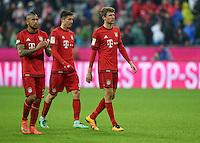 FUSSBALL  1. BUNDESLIGA  SAISON 2015/2016  24. SPIELTAG FC Bayern Muenchen - 1. FSV Mainz 05       02.03.2016 Arturo Vidal, Robert Lewandowski und Thomas Mueller (v.l., alle FC Bayern Muenchen) sind nach dem Abpfiff enttaeuscht