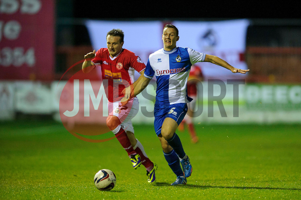Bristol Rovers Midfielder Seanan Clucas (NIR) in action during the second half of the match - Photo mandatory by-line: Rogan Thomson/JMP - Tel: Mobile: 07966 386802 22/10/2013 - SPORT - FOOTBALL - The Store First Stadium - Accrington Stanley v Bristol Rovers - Sky Bet Football League 2.