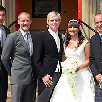 St Johnstone's Liam Craig pictured with his new wife Laura after their wedding today (03.06.10) at Bonnybridge St Helen's Parish Church. Pictured with team mates from left Euan McLean, Danny Grainger and Paul Sheerin.<br /> see story by Robert Thompson <br /> Picture by Graeme Hart.<br /> Copyright Perthshire Picture Agency<br /> Tel: 01738 623350  Mobile: 07990 594431