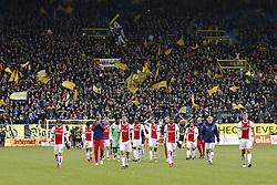 (L-R) Lasse Schone of Ajax, David Neres of Ajax, Maximilian Wober of Ajax, Siem de Jong of Ajax, goalkeeper Andre Onana of Ajax, Joel Veltman of Ajax, Mateo Cassierra of Ajax, Noussair Mazraoui of Ajax, Mitchel Bakker of Ajax, Hakim Ziyech of Ajax, Amin Younes of Ajax, Rasmus Kristensen of Ajax, Donny van de Beek of Ajax, Matthijs de Ligt of Ajax during the Dutch Eredivisie match between Vitesse Arnhem and Ajax Amsterdam at Gelredome on March 04, 2018 in Arnhem, The Netherlands
