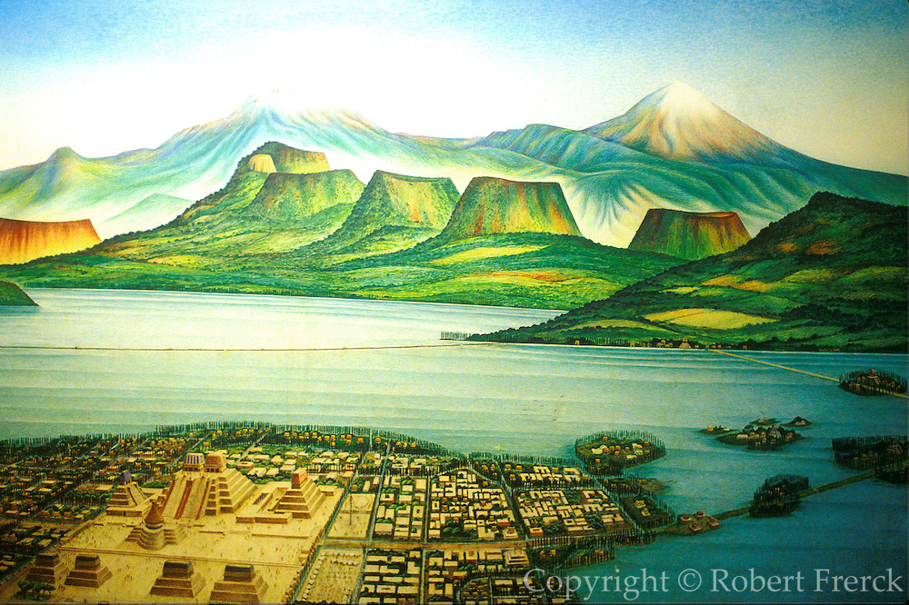 MEXICO, MUSEUM OF MEXICO CITY Mural depicting Aztec capital of Tenochtitlan in Valley of Mexico at time of the conquest