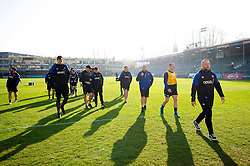 Bath Rugby players make their way off the field prior to the match - Mandatory byline: Patrick Khachfe/JMP - 07966 386802 - 17/11/2018 - RUGBY UNION - The Recreation Ground - London, England - Bath Rugby v Worcester Warriors - Gallagher Premiership Rugby