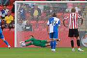 Dillon Phillips saves the penalty during the Pre-Season Friendly match between Cheltenham Town and Bristol Rovers at Whaddon Road, Cheltenham, England on 25 July 2015. Photo by Antony Thompson.