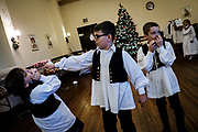 Children prepare for the 58th annual Rankin Jr. Tamburitzans concert at the Rankin Croatian Home in Rankin, Pa.<br />