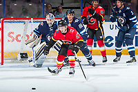 PENTICTON, CANADA - SEPTEMBER 11: Matthew Phillips #47 of the Calgary Flames looks for the pass against the Winnipeg Jets on September 11, 2017 at the South Okanagan Event Centre in Penticton, British Columbia, Canada.  (Photo by Marissa Baecker/Shoot the Breeze)  *** Local Caption ***