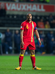 SWANSEA, WALES - Tuesday, March 26, 2013: Wales' captain Ashley Williams in action against Croatia during the 2014 FIFA World Cup Brazil Qualifying Group A match at the Liberty Stadium. (Pic by Kieran McManus/Propaganda)