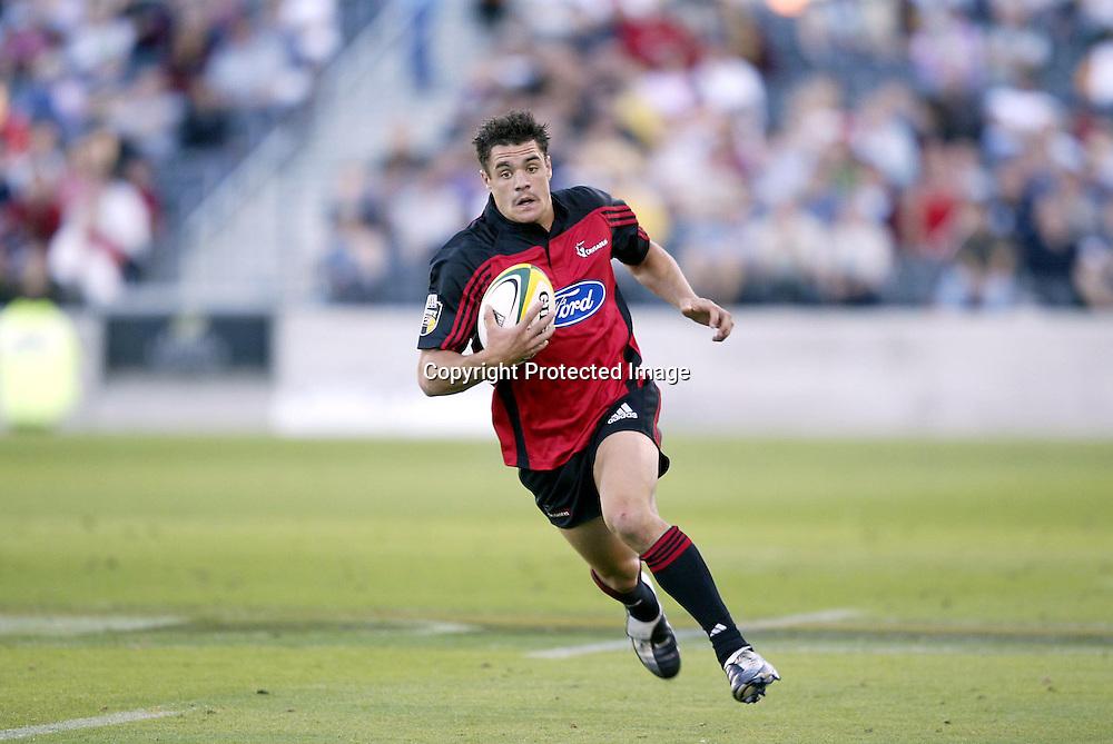 21 February, 2004. Jade Stadium, Christchurch, New Zealand. Rugby Union Super 12. Crusaders vs Waratahs. <br />Daniel Carter.<br />The Waratahs won the match, 43 - 19.<br />Pic: Photosport
