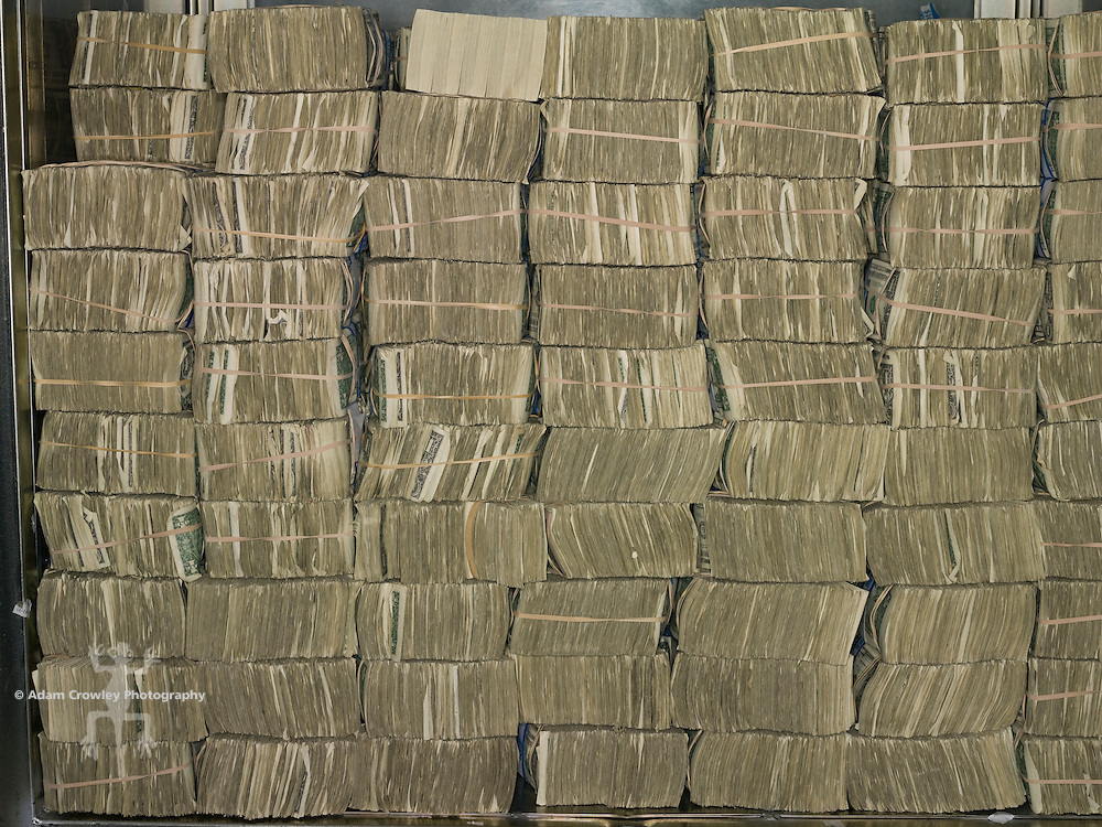 Bundles of U.S. dollar bills.